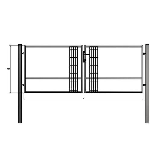BD Szolid kétszárnyú kapu 6-10m RAL6005