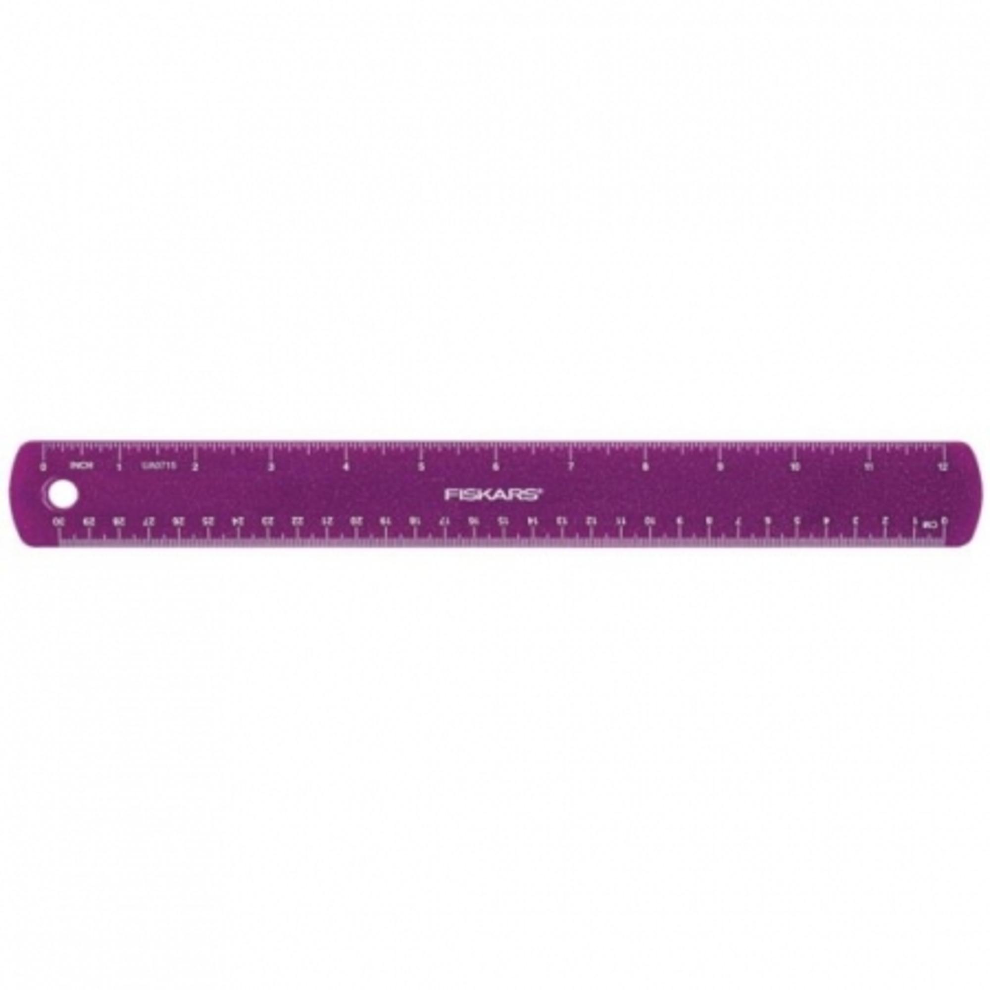 Fiskars Gyerekvonalzó lila csillámokkal, 30 cm (csak rendelésre) - 1023922