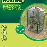 Nortene BALCONY 3, 3 polcos fóliasátor - 1,25 x 0,5 x 0,7 - színtelen - 160030